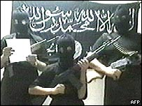 Video grab of militant followers of Abu Musab al-Zarqawi