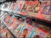 Magazines in a newsagent
