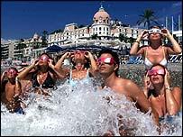 Bathers on Nice beach