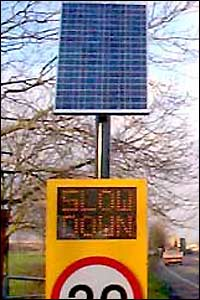 Solar powered speed sign