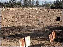 Section for Abu Ghraib prisoners at Karkh Islamic Cemetery (photo: BBC/Martin Asser)