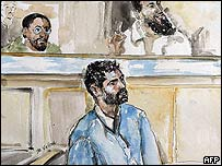 David Courtailler and co-defendants (court sketch)