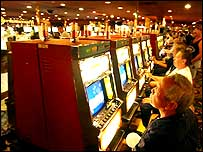 Gamblers using slot machines in Las Vegas