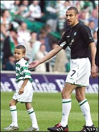 Larsson and son Jordan before kick off at Celtic Park