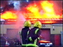 Firefighters at the Leyton warehouse blaze