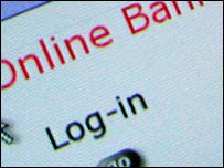 Login page of online bank, BBC