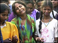 Veerappan's widow, Muttulakshmi (centre), and daughters Nidhi (left) and Prabha (right)