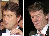 Photos of Mr Yushchenko show in July (left) and October