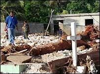 Grave of a Dominican Republic flood victim