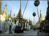 Rangoon Yangon Shrines encircle the Schwedagon Pagoda, Burma (file photo)