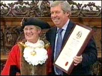 Brendan Foster receiving honorary Freedom of Gateshead