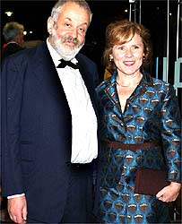 Mike Leigh and Imelda Staunton at the premiere