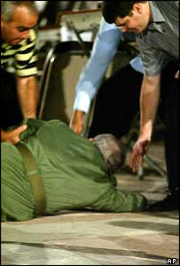 Fidel Castro immediately after his fall in Santa Clara