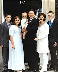 The Blair family in Downing Street in 2001