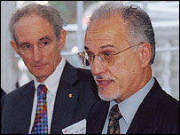 Hussein Shahristani (right), with the president of Britain's Royal Society, Lord May of Oxford (Courtesy Royal Society)