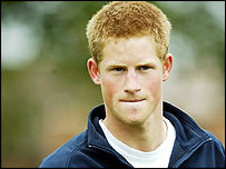 Prince Harry during rugby training session