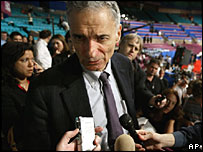 Ralph Nader speaks to reporters at the Republican convention