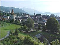 Zug's old town on the shores of Zugersee, surrounded by mountains