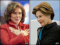 Theresa Heinz Kerry (left) and Laura Bush