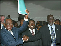 Sudan Vice President Ali Osman Mohamed Taha, left, and Sudan People's Liberation Army leader John Garang hold up the peace protocol they signed in Kenya
