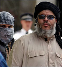 Abu Hamza and supporter outside Finsbury Park in May
