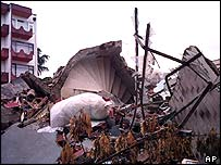 Rubble after an earthquake in the Turkish city of Yalova, in 1999