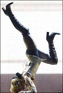 Madonna performing in concert