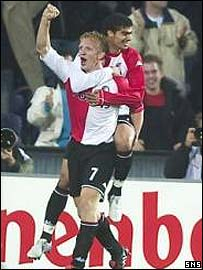 Dirk Kuijt celebrates his opening goal for Feyenoord