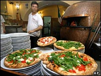 A typical pizzeria in Naples, Italy