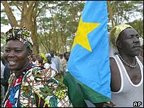 SPLA supporters, with their flag