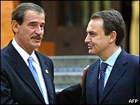 Presidente de M�xico, Vicente Fox, y presidente del gobierno espa�ol, Jos� Luis Rodr�guez Zapatero.