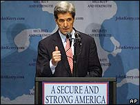 John Kerry makes his speech in Seattle