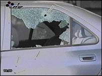 Dusko Jovanovic's car at scene of attack