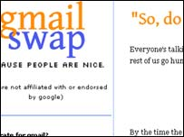 Screengrab of Gmail Swap homepage