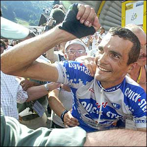 Richard Virenque led the whole of France in celebration after winning stage seven and picking up the leader's yellow jersey