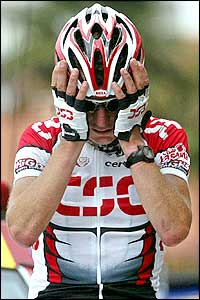 Tyler Hamilton - the hero of the Tour - broke away from the leading pack by winning stage 15 with a broken collarbone