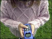 Child with mobile phone, BBC