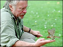 Bill Oddie and robin   BBC