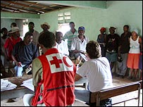 Red Cross officials with locals