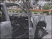 Bullet-riddled car in Khobar
