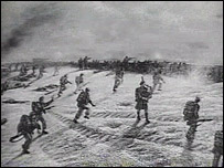 Artists illustration of Bill Millin at Sword Beach