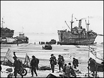 Allied troops on the beaches in Normandy - courtesy of the National Archives