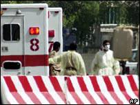 Ambulances at Oasis compound in Khobar