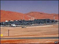 An industrial plant strips natural gas from freshly pumped crude oil at Saudi Aramco's Shaybah oil field, Shaybah, in Saudi Arabia's Rub al-Khali desert