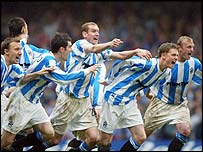 Huddersfield celebrate their promotion