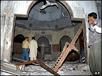 Inside the damaged mosque, 31 May 2004