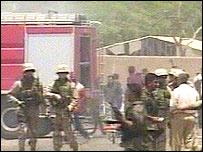 Troops in street after blast