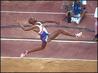 Mike Powell leaps to a new world record in 1991