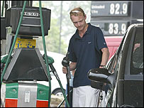Customer at petrol pump
