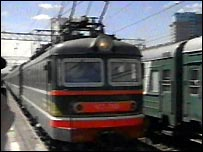 Train arriving in Moscow